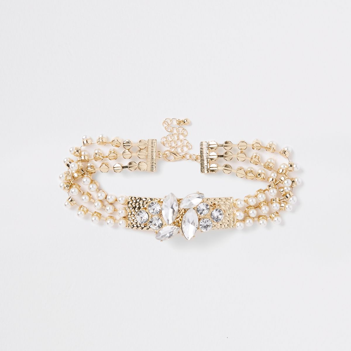 Gold tone pearl jewel choker
