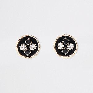 Clous d'oreilles noirs ornés de velours en forme de cercle