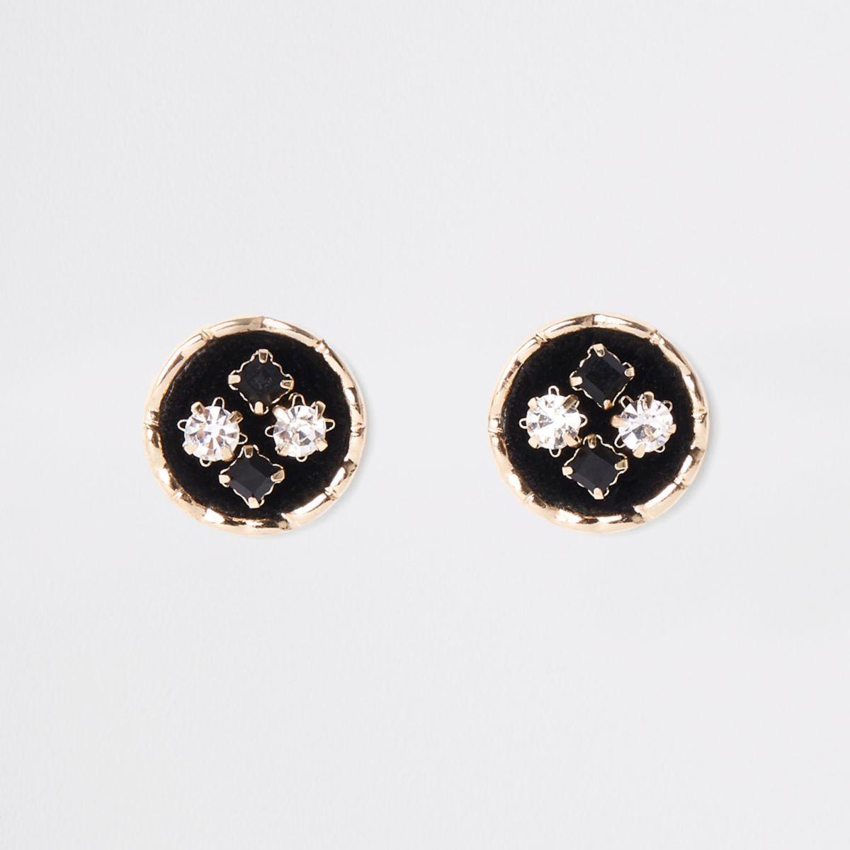 Black velvet embellished circle stud earrings