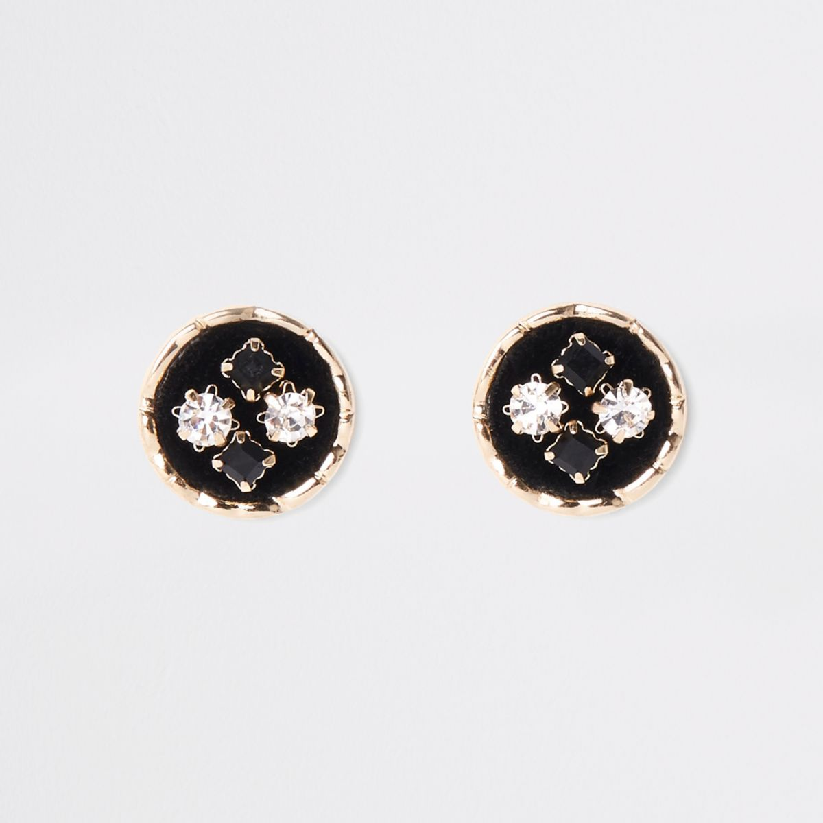 Black velvet embellished circle stud earrings