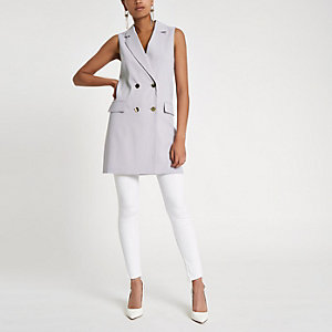 Grey double breasted sleeveless jacket