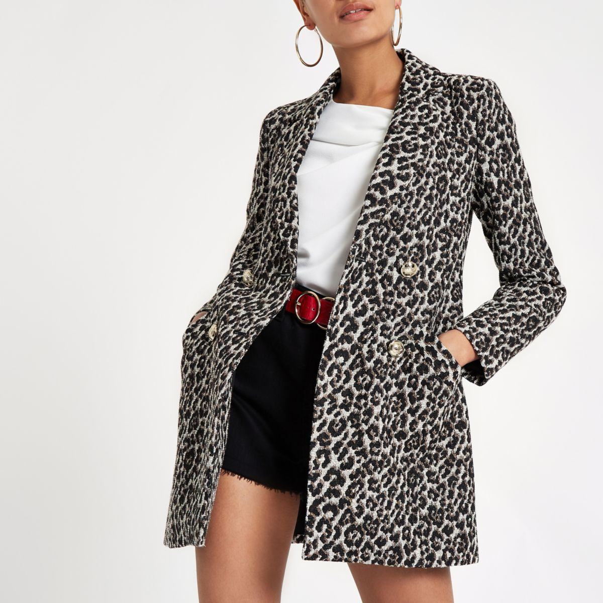 Brown leopard print double-breasted jacket
