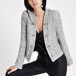 White and black long sleeve boucle jacket