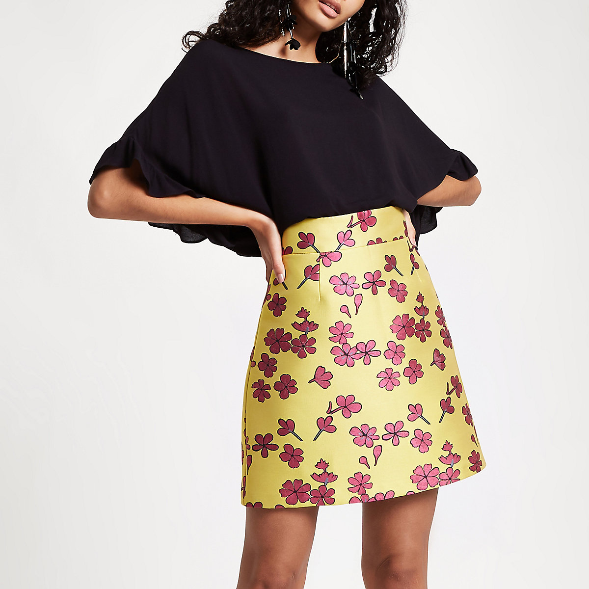 Yellow floral jacquard mini skirt