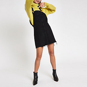 Black frayed hem denim overall dress