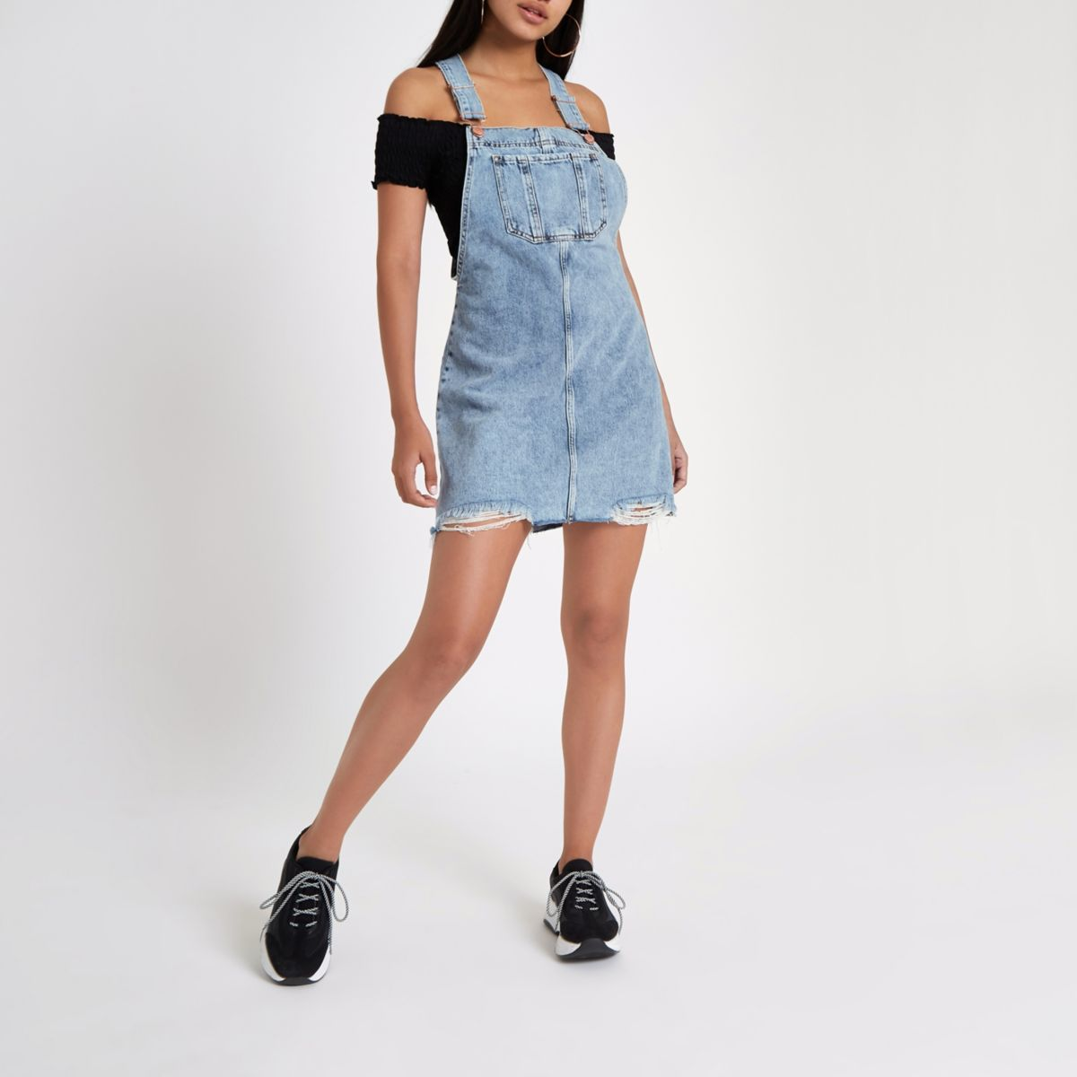 Light blue ripped denim overall dress