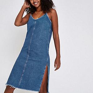 Blue denim side split midi dress