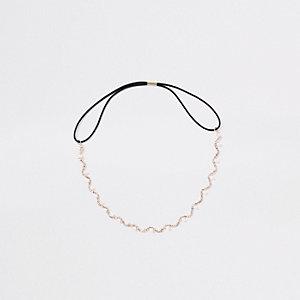 Serre-tête doré à strass et fausses perles