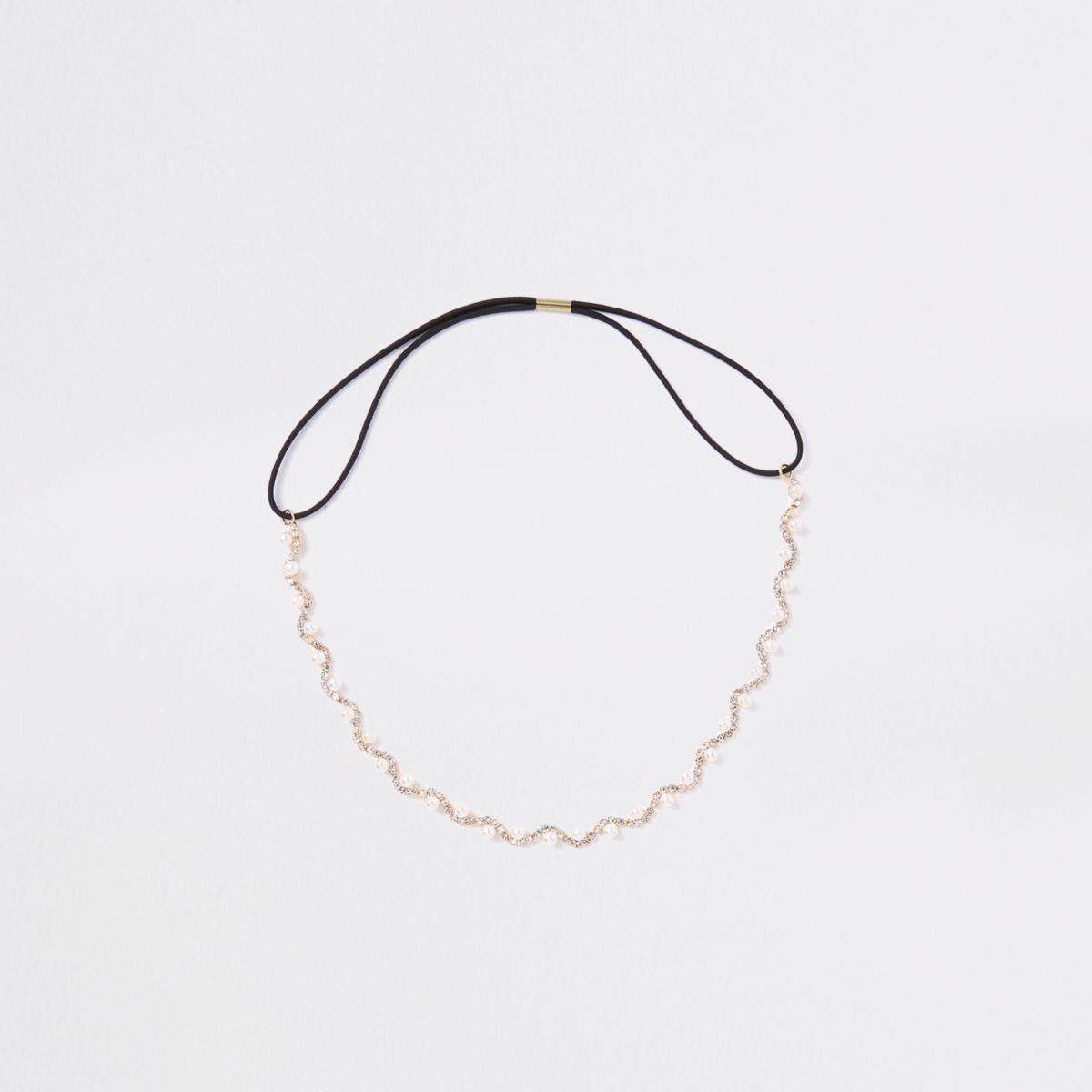 Gold tone diamante faux pearl head band