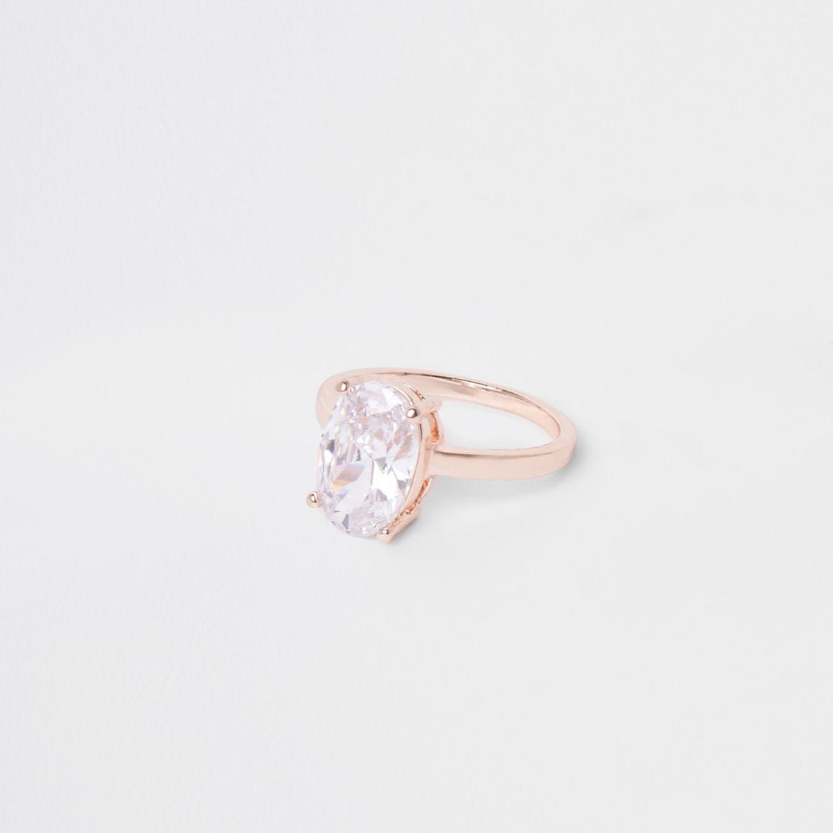 Rose gold tone cubic zirconia ring