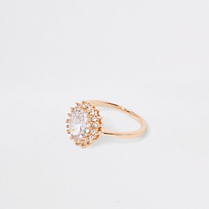 Gold tone jewel stone rhinestone pave ring