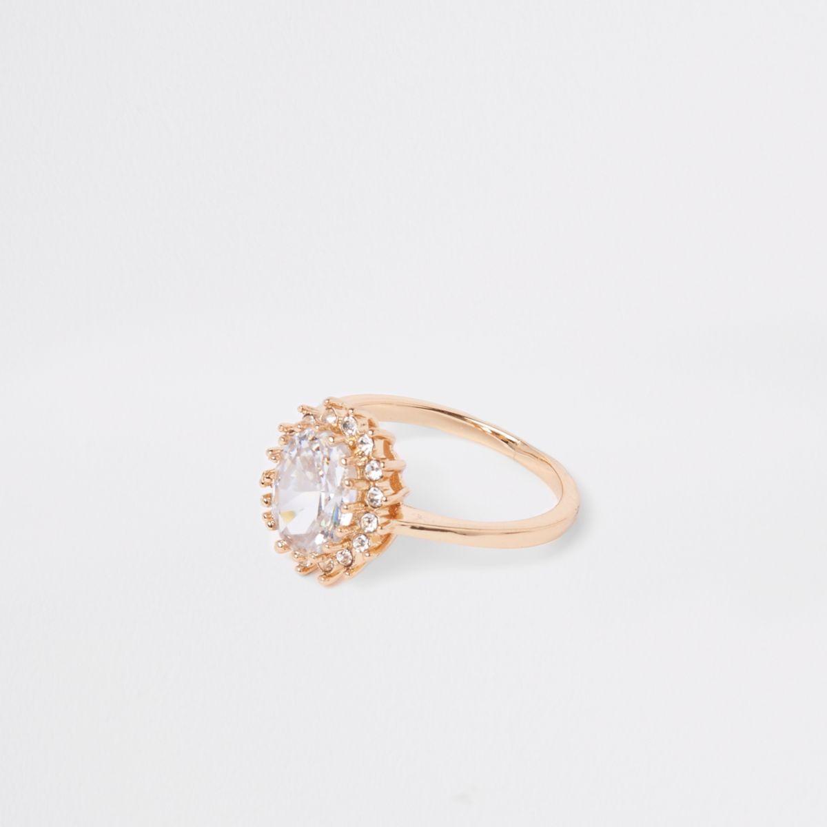 Gold tone jewel stone rhinestone pave ring