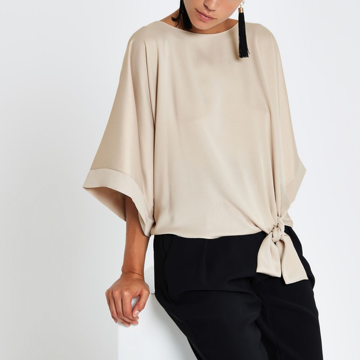 Beige Knot Side T Shirt by River Island