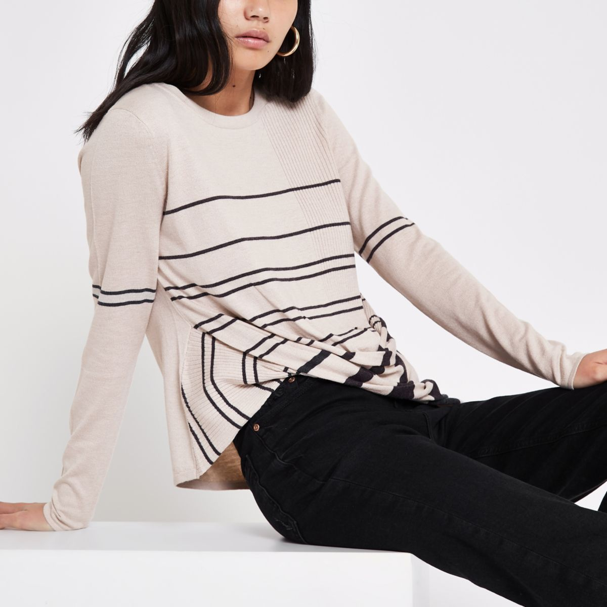 Beige knit stripe twist front sweater