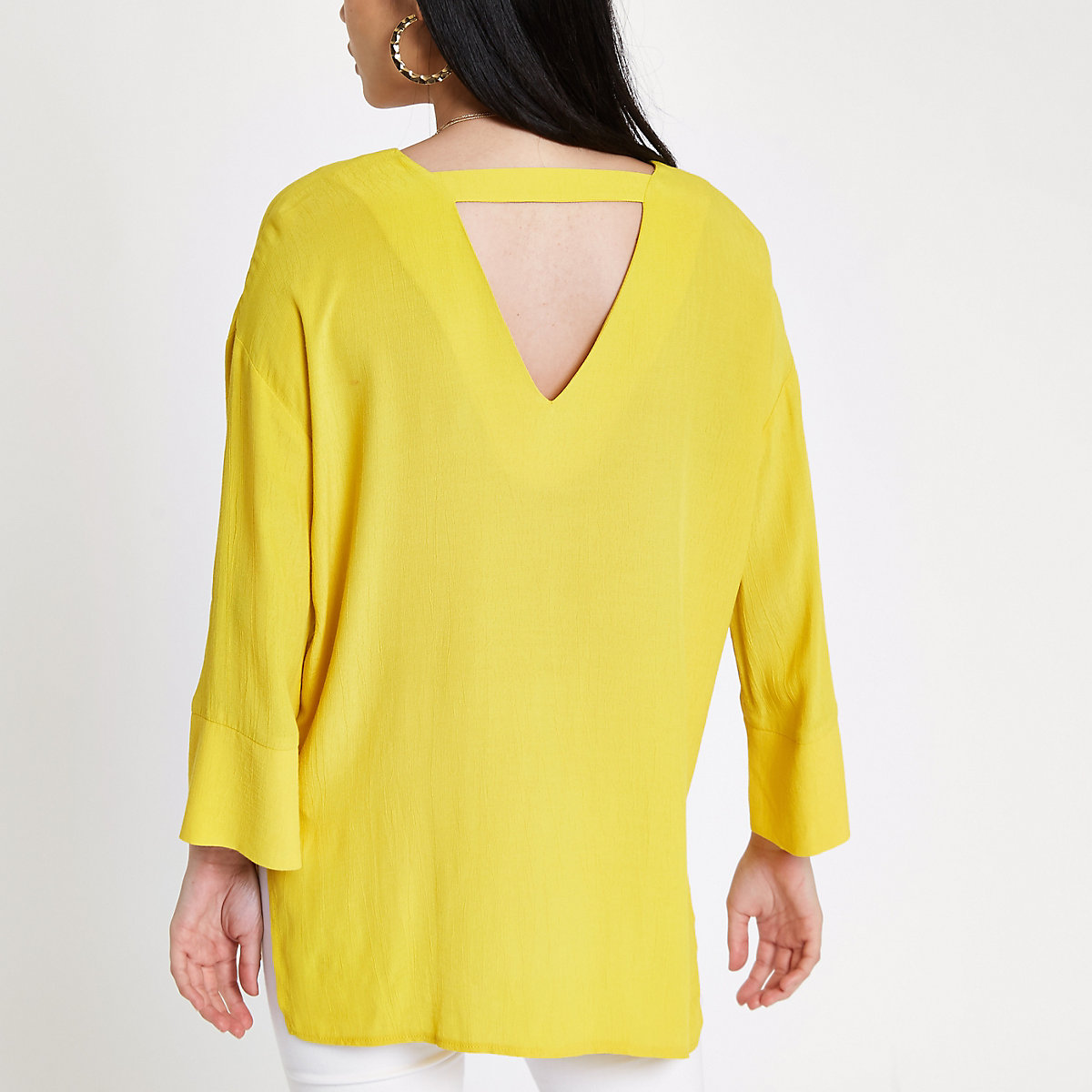 delantera barra amarillo Botón la en trasera blusa 0qzgIfgw