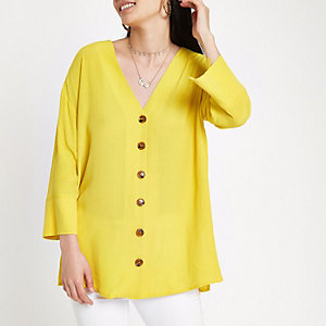 Yellow button front bar back blouse