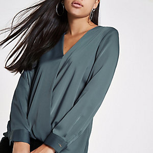 Blue wrap tuck front long sleeve blouse