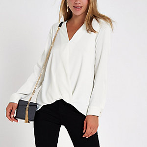 Cream wrap tuck front long sleeve blouse