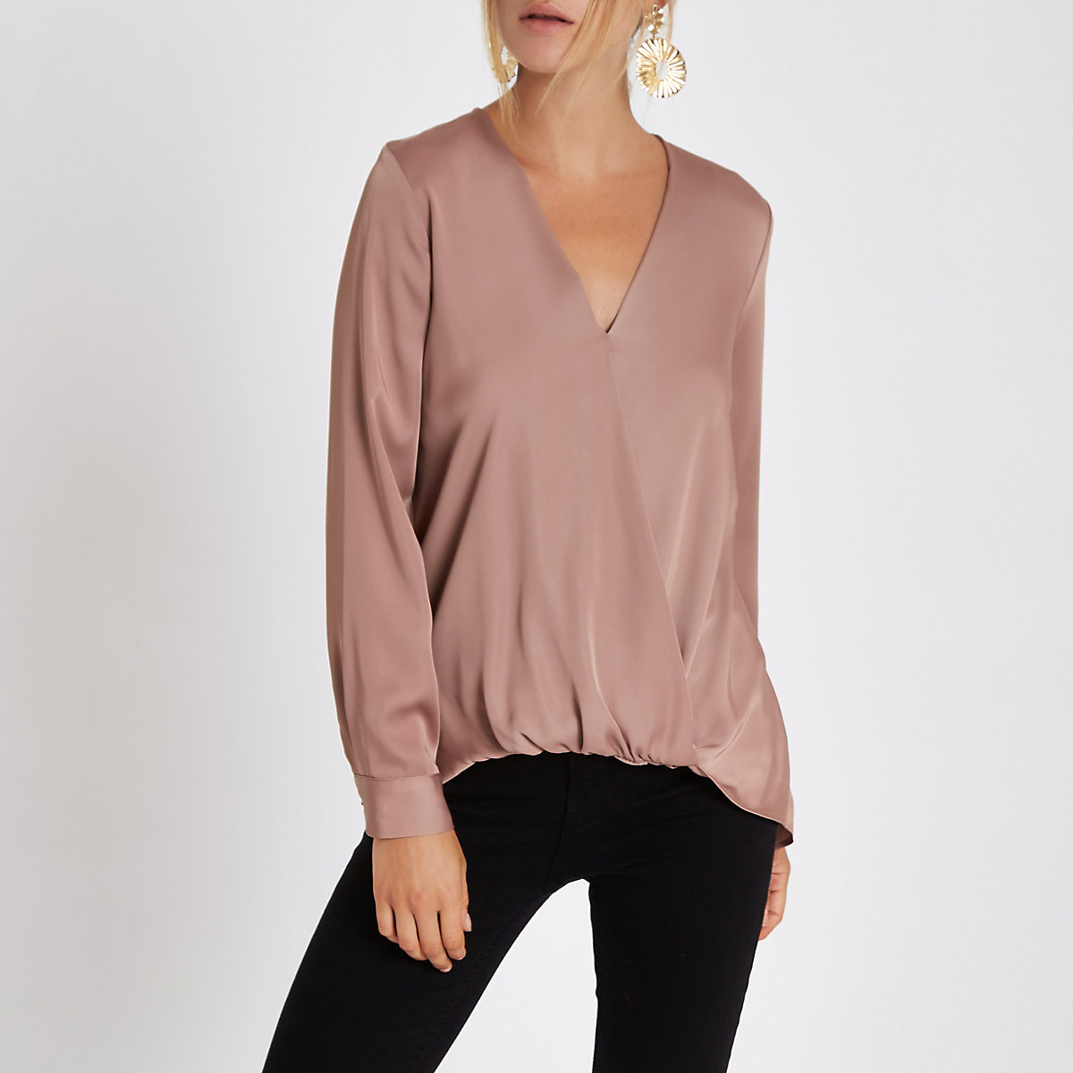 Dark pink wrap tuck front long sleeve blouse