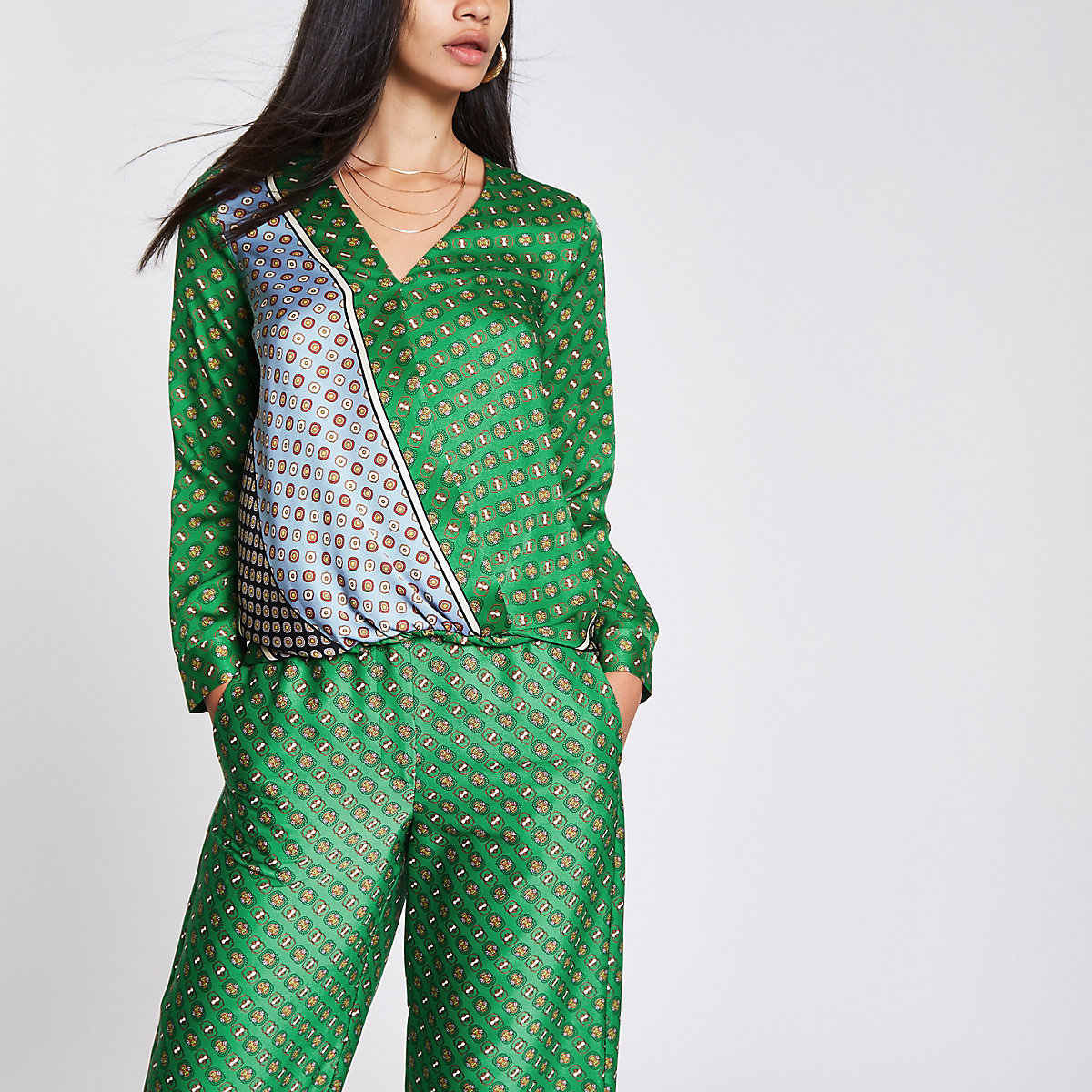 Green tile print tuck front blouse