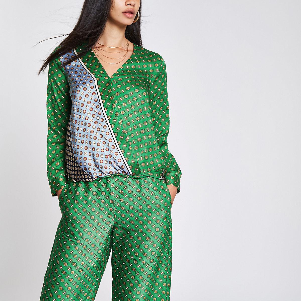 Green tile print tuck front blouse