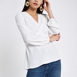 White cross front tie back blouse
