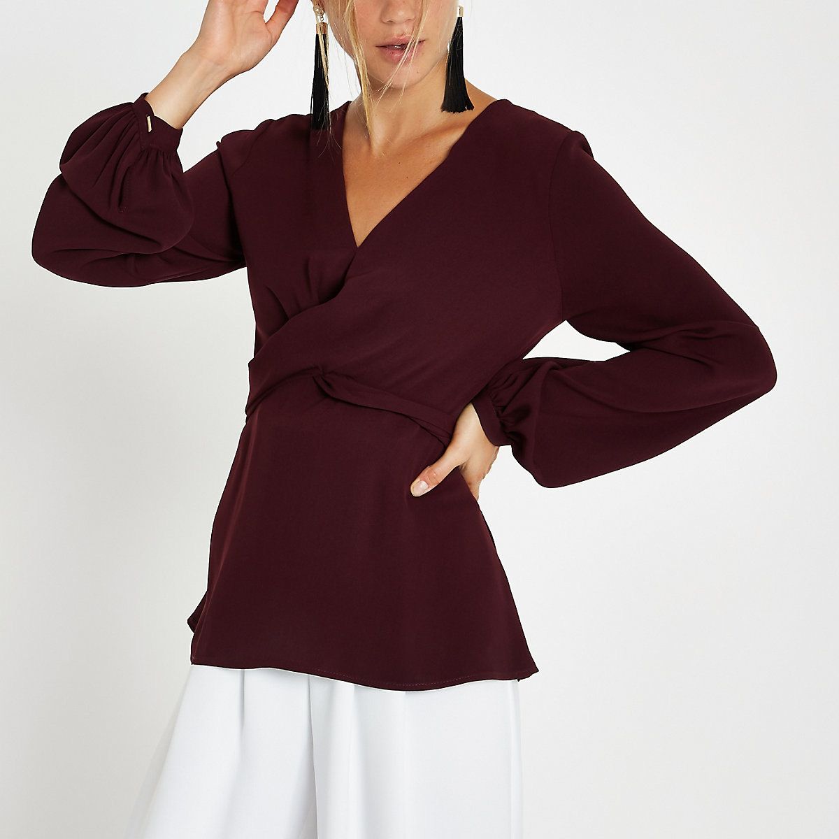 Dark red cross front tie back blouse