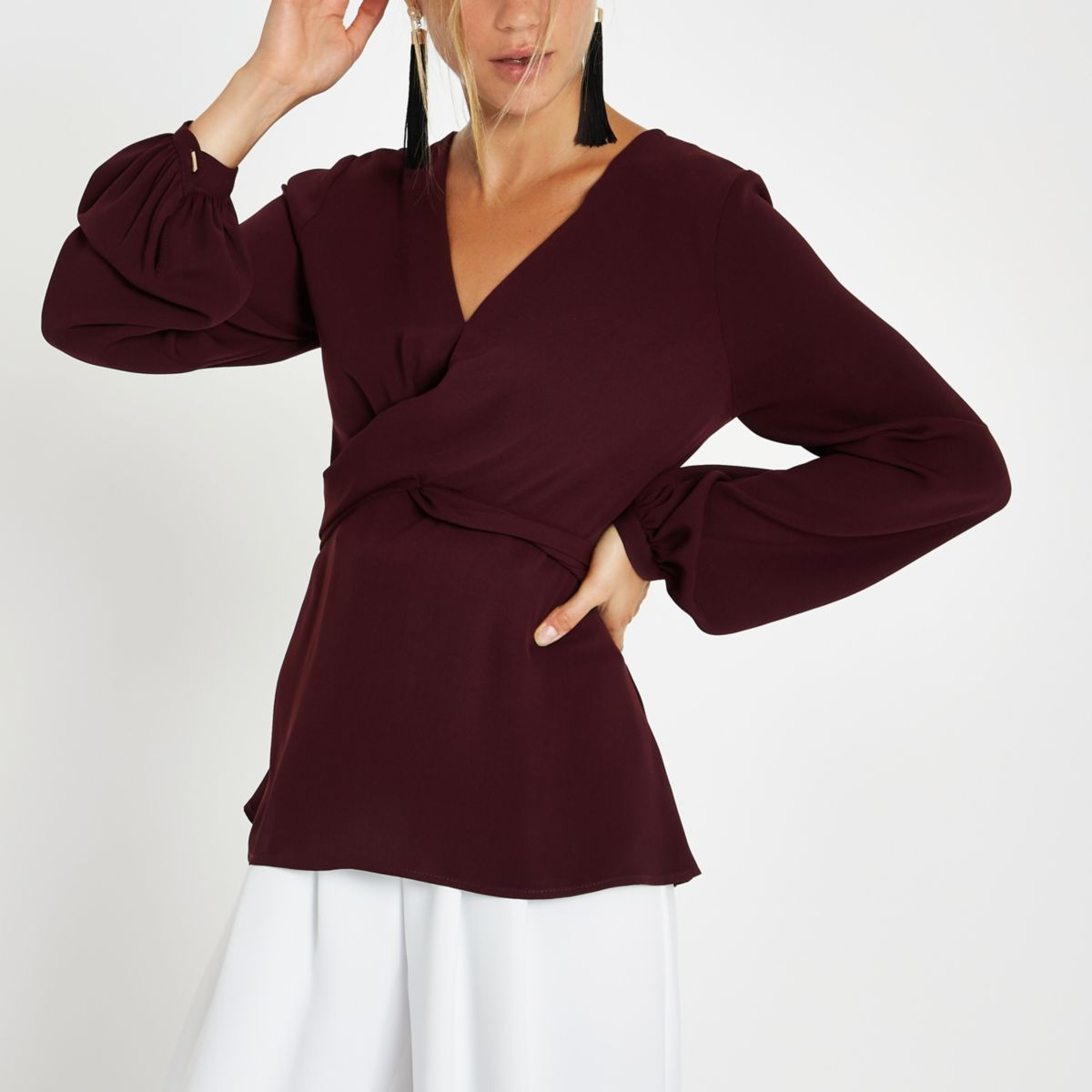 Dark red cross front tie back blouse