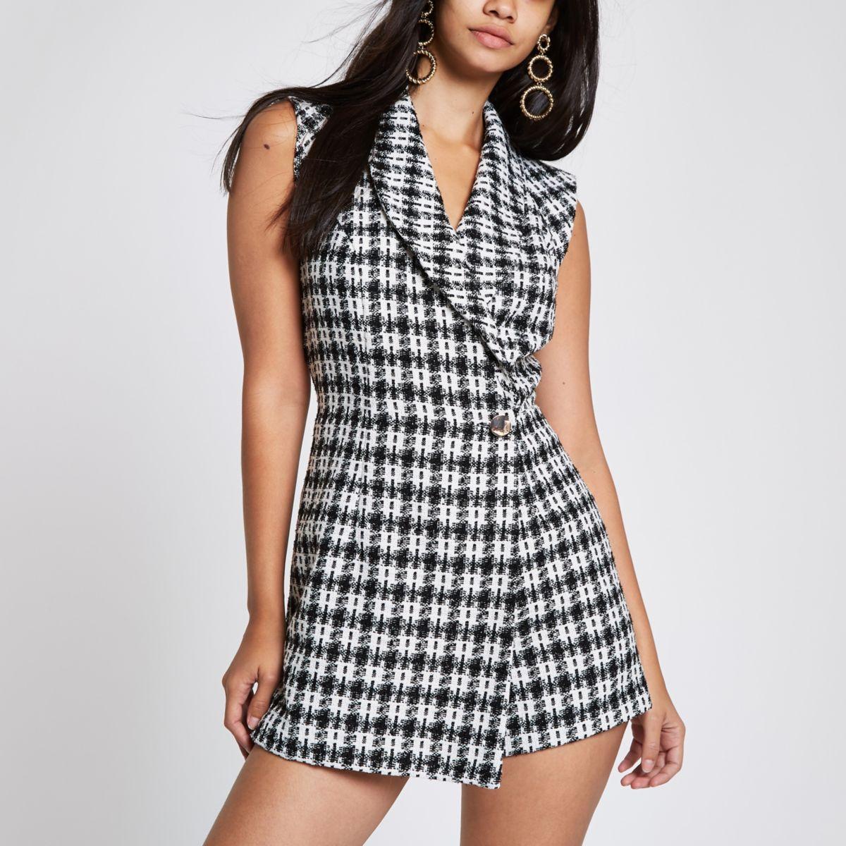 Grey check tux sleeveless wrap romper