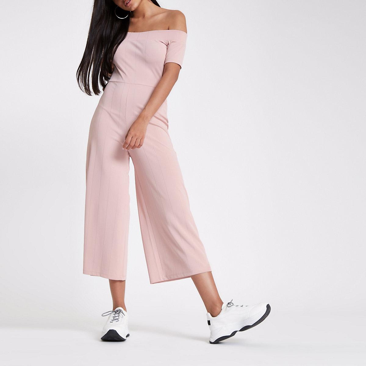 Pink bardot wide leg jumpsuit