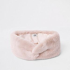Rosa Kunstfellstirnband