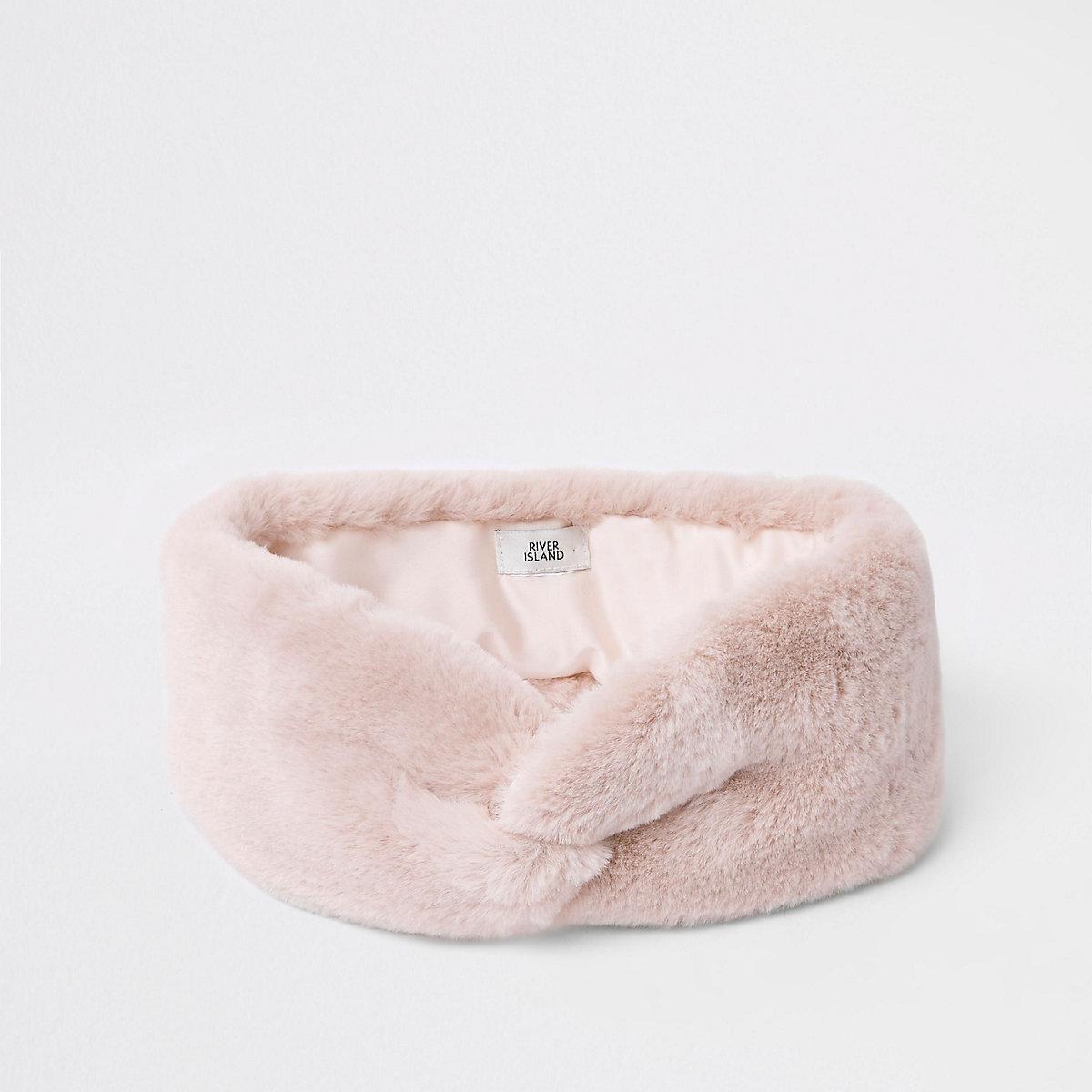 Light pink faux fur headband
