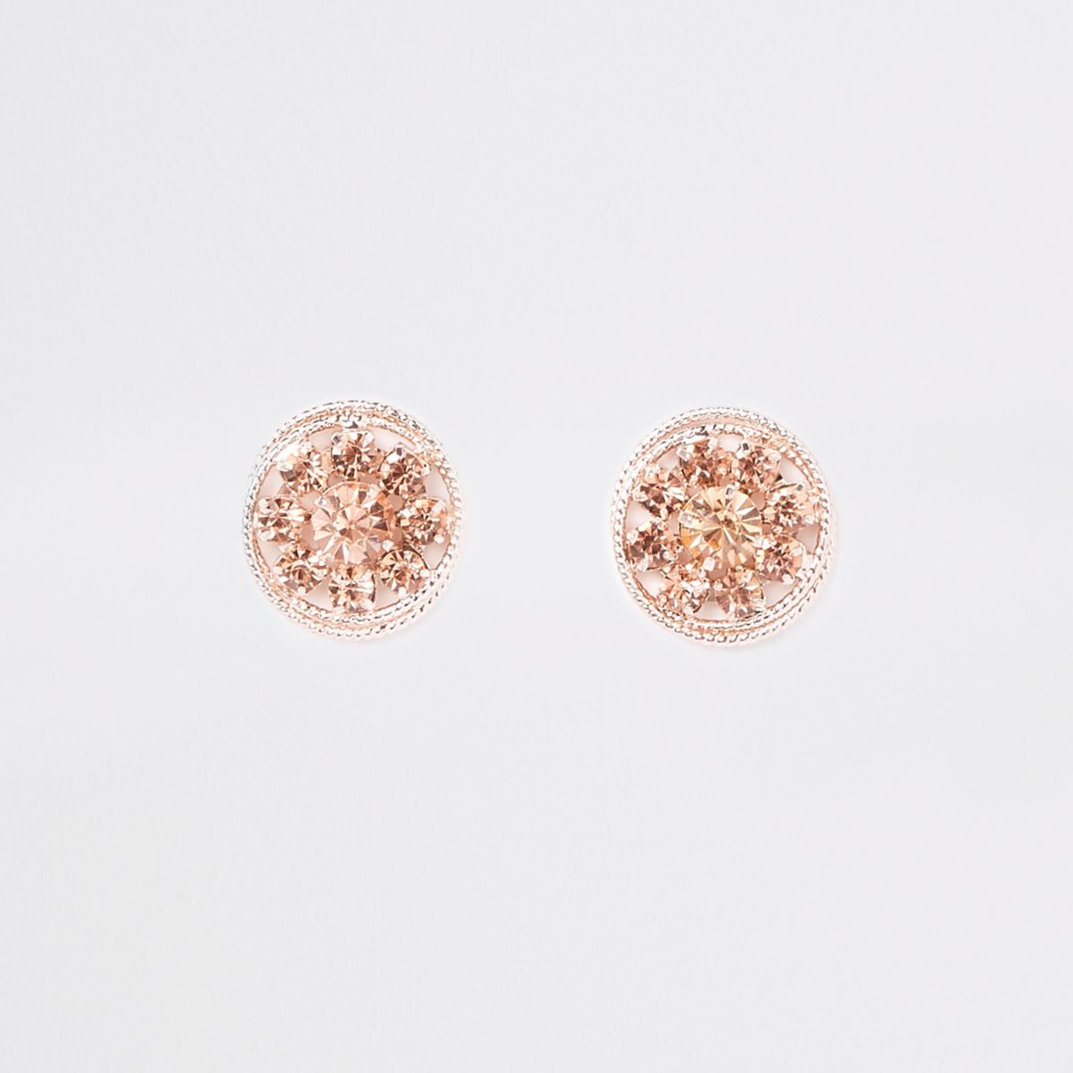 Rose gold tone twisted rope stud earrings