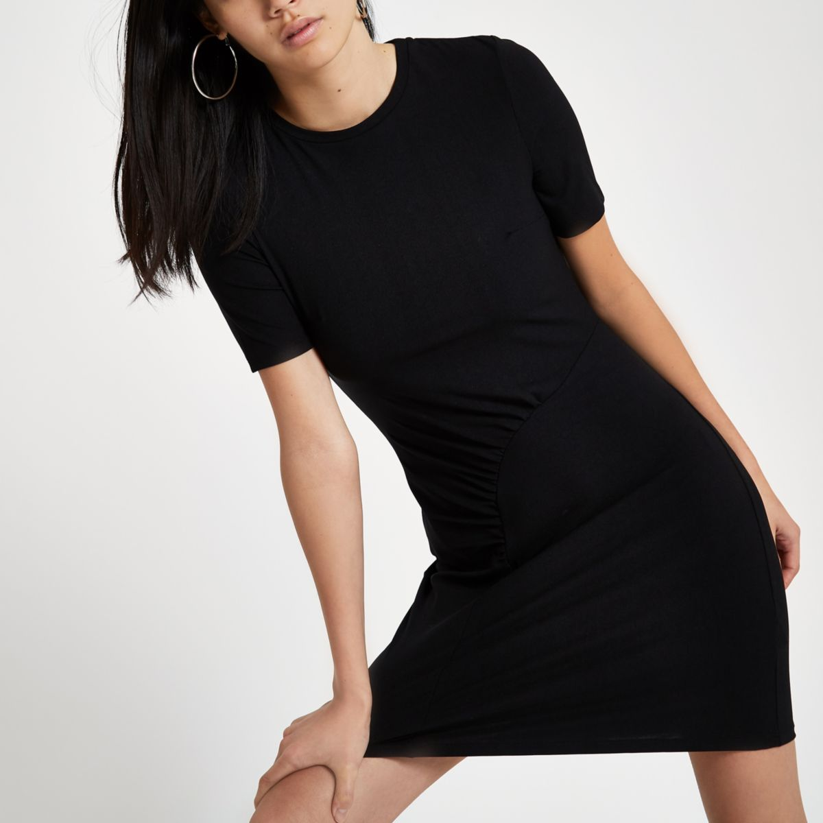 Black ruched bodycon mini dress