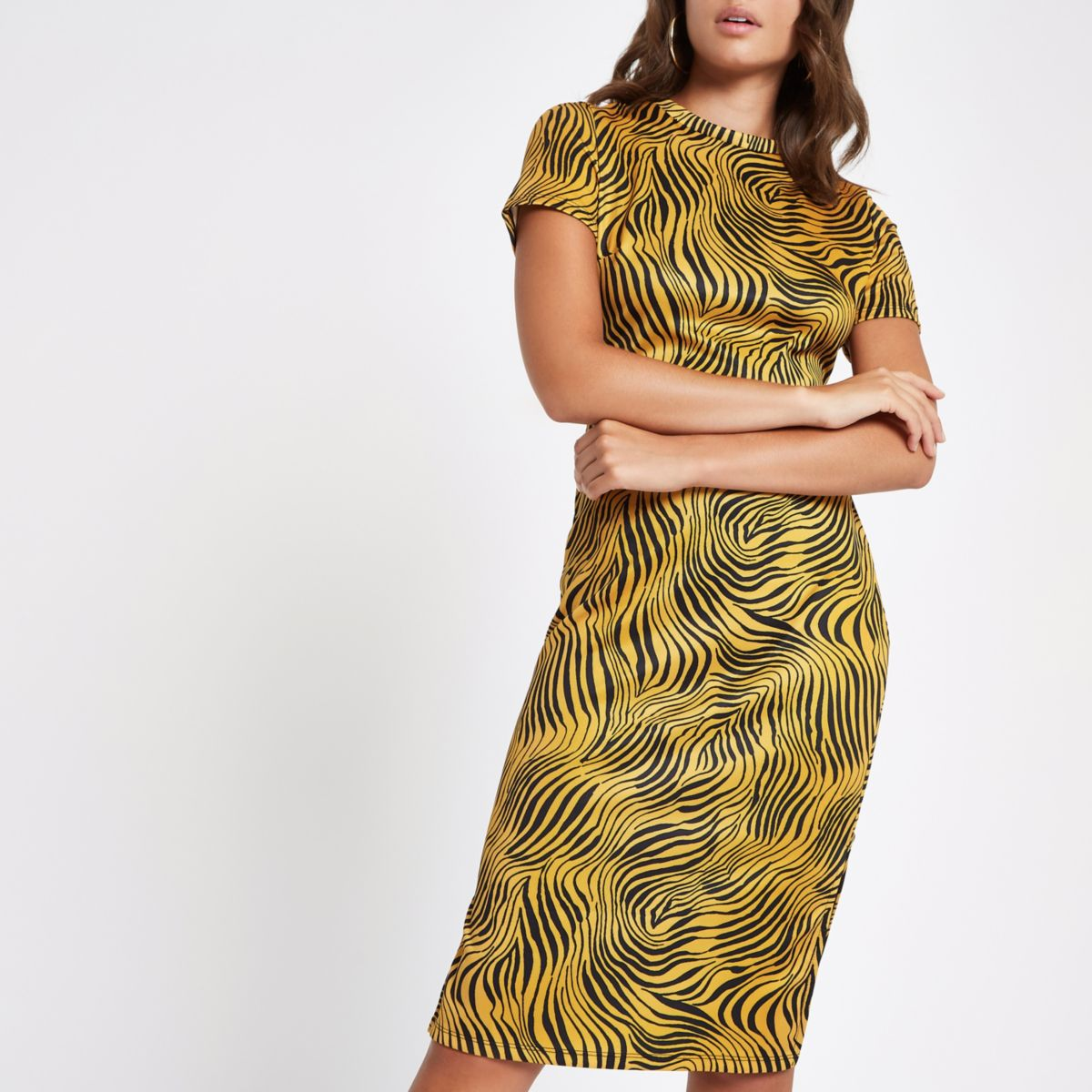 Yellow zebra print midi bodycon dress