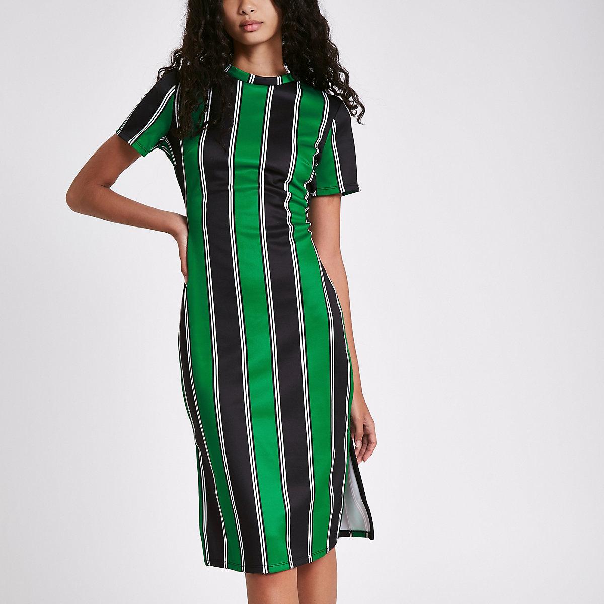 Green stripe midi bodycon dress