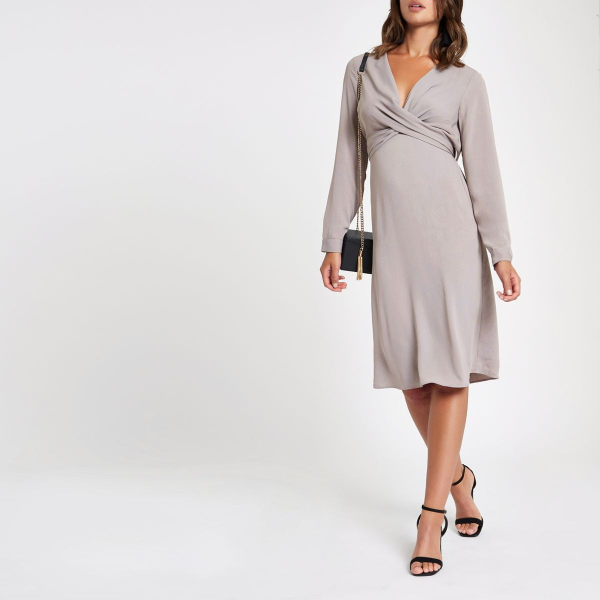 Grey  wrap V neck midi dress