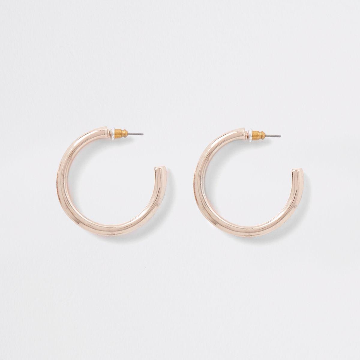 Rose gold diamante pave hoop earrings