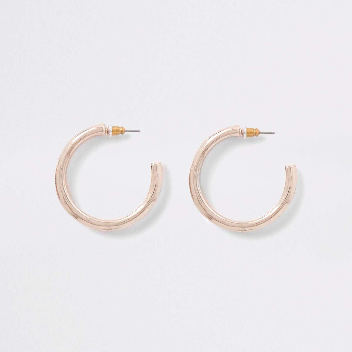 Rose gold rhinestone pave hoop earrings