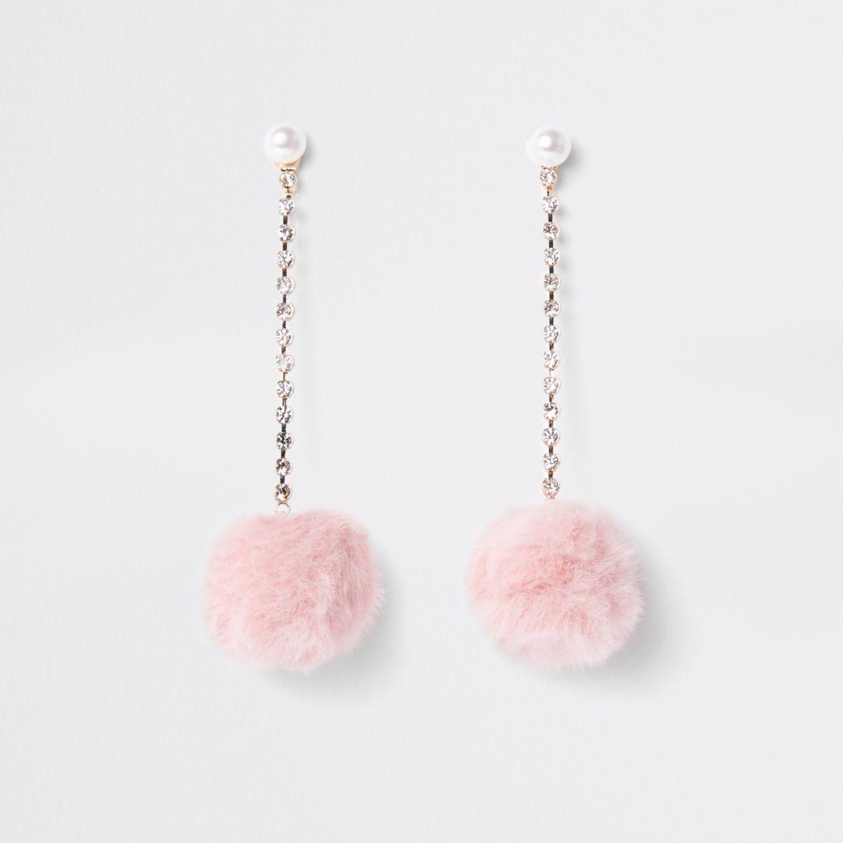 Pink pearl pom pom drop stud earrings