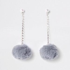 Grey pearl pom pom drop stud earrings