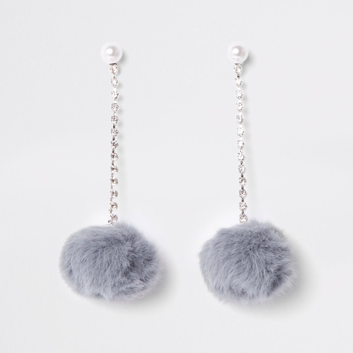 Grey pearl pom pom drop stud earrings