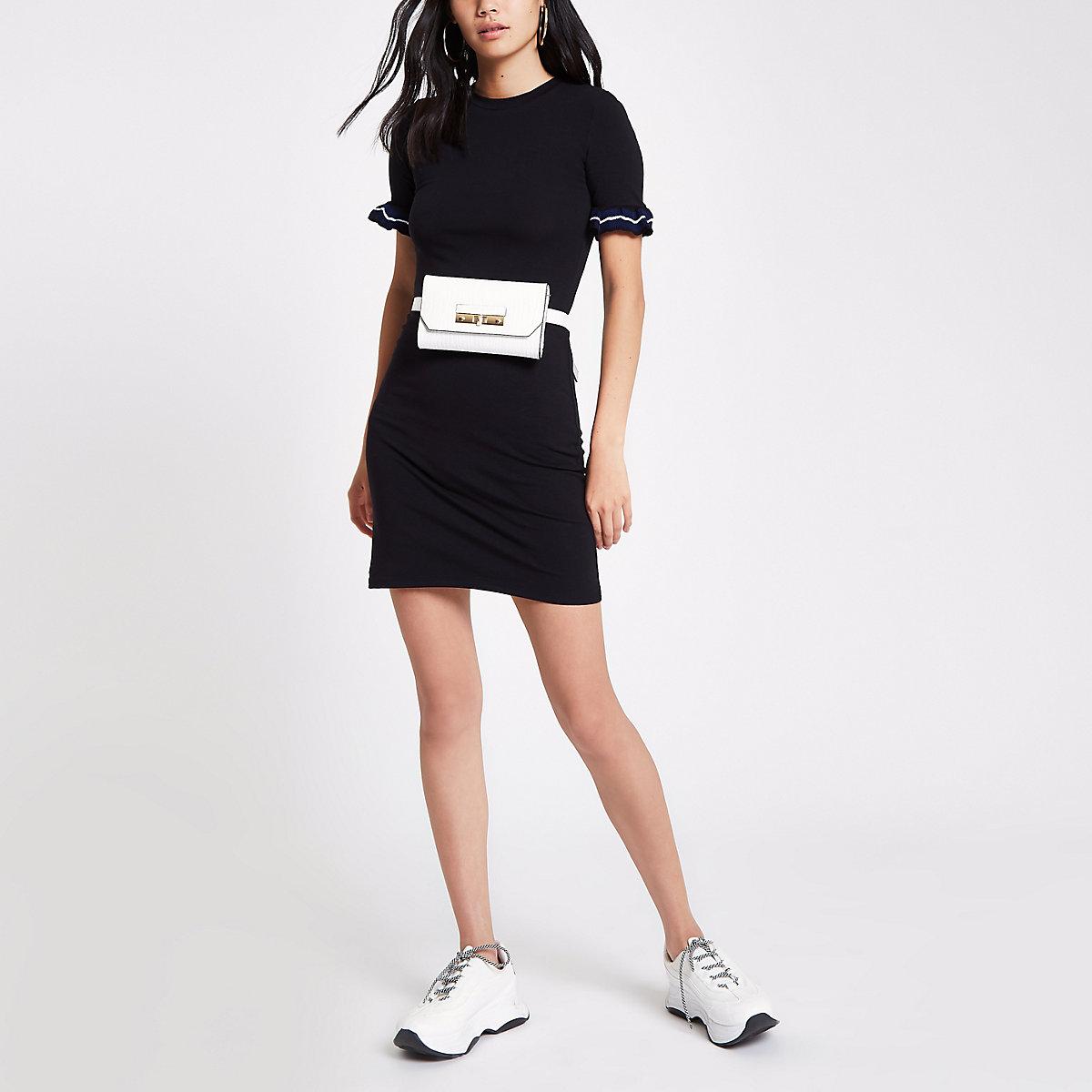 Black ruffle sleeve mini bodycon dress
