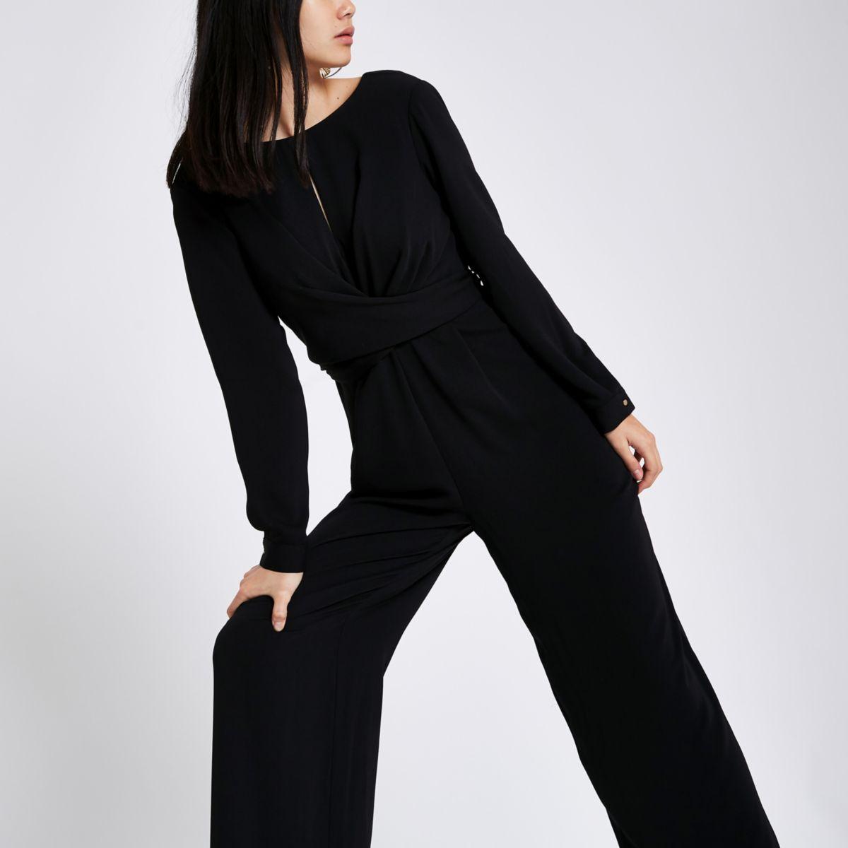 Black wrap front wide leg jumpsuit