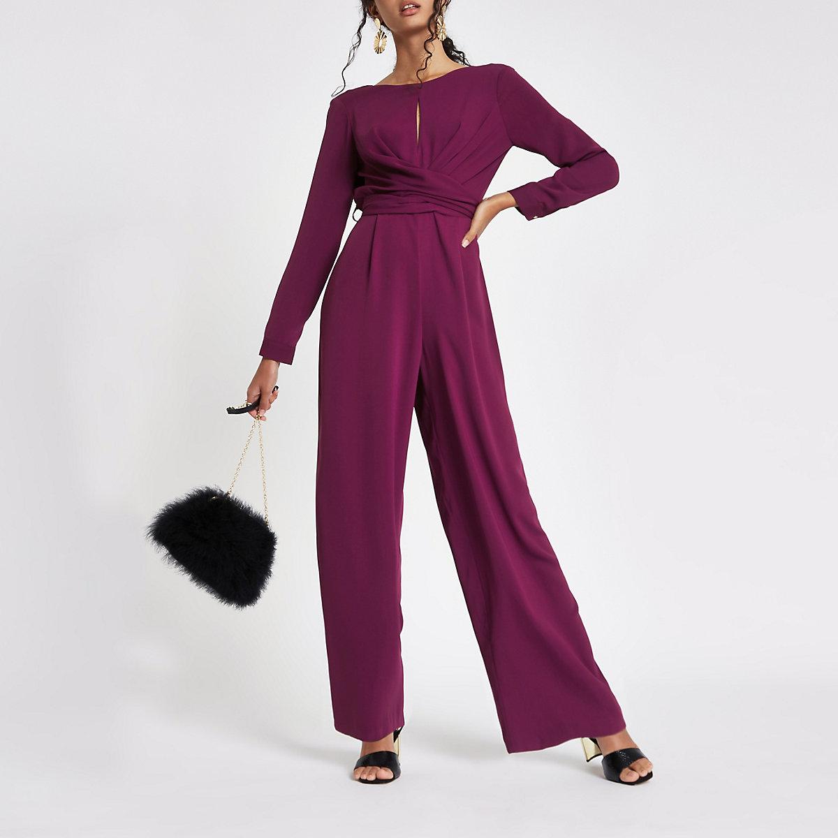 Purple wrap front wide leg jumpsuit