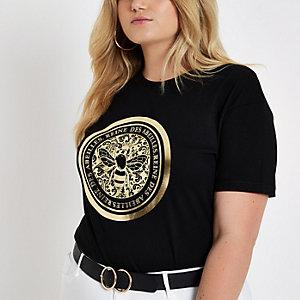 Zwart aansluitend T-shirt met bij-folieprint