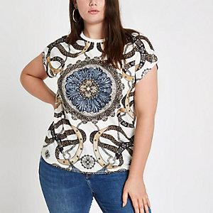RI Plus - T-shirt met sjaalprint en ronde hals