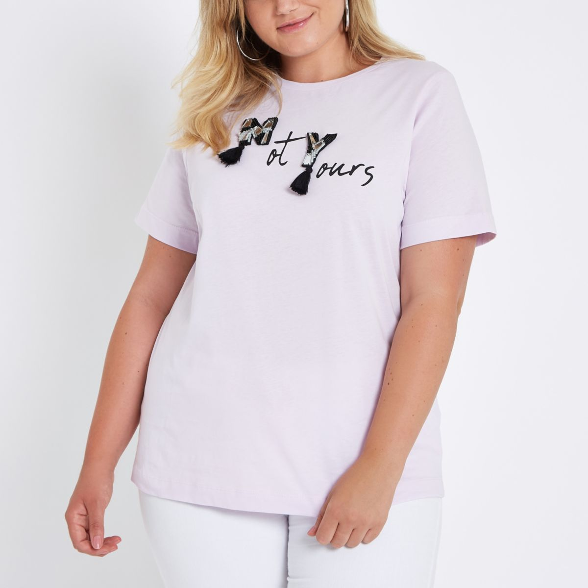 Plus purple 'not yours' embellished T-shirt