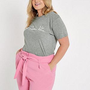 RI Plus - Grijs aansluitend T-shirt met 'positive vibes'-print