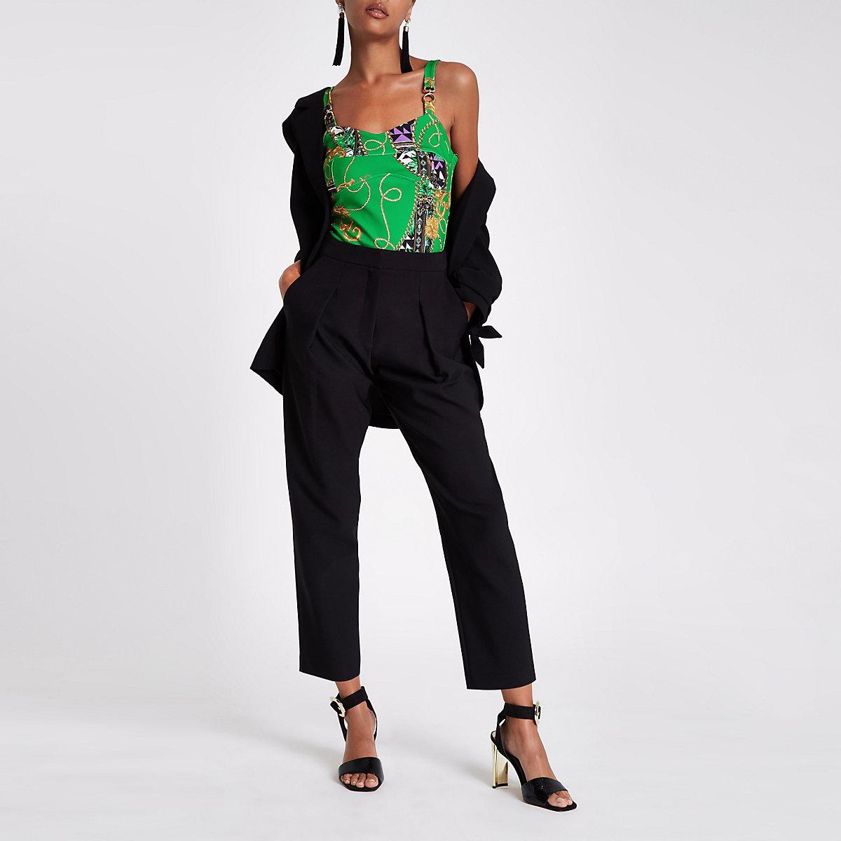 Green chain print buckle detail cami bodysuit
